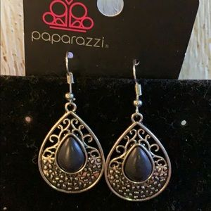 Black & Silver Tear Drop Earrings